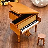 Xiaolanwelc Piano Wooden Music Box Style Burlywood Color 18 Tones Grand Gifts For Valentines Day Classical Nice Music Box with Stool