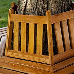 Coral Coast Fillmore Wood Outdoor Hexagonal Tree Bench