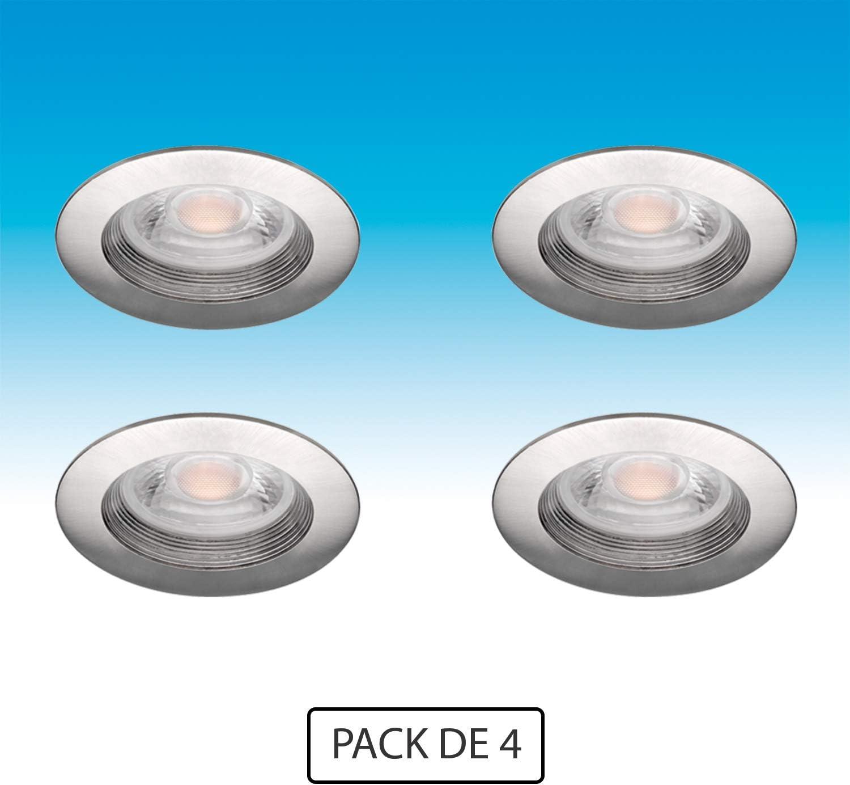 Volton - Pack 4 Aros Downlight Redondos fijos para empotrar con ...