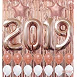 2019 Balloons, Rose Gold for New-Year, Rose Gold Metallic Foil Fringe Backdrop | Rose Gold Balloons | New Years Eve Party Supplies 2019, Graduations Party Supplies 2019,  New Years Party Decorations