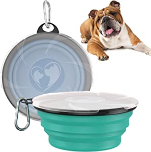 VavoPaw Collapsible Dog Bowl, 2-Pack Silicone Feeding Watering Travel Bowl for Dog & Cat with Lids, Portable Pet Food Feeder Water Bowl for Travel Camping Walking