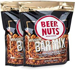 product image for BEER NUTS Original Bar Mix - 32 oz Resealable Bag (Pack of 2), Pretzels, Cheese Sticks, Sesame Sticks, Roasted Corn Nuts, and Original Peanuts