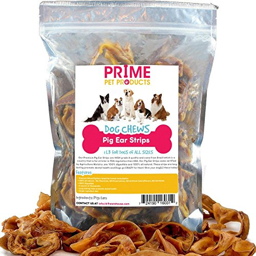 k9konnection PRIME PET Pig Ear Strips - 1 lb Bag (20+Strips) of All Natural Healthy Dog Treat, Made of Pure Pork Pig Ears - Better Alternative to Rawhide Dog Chews for Dogs