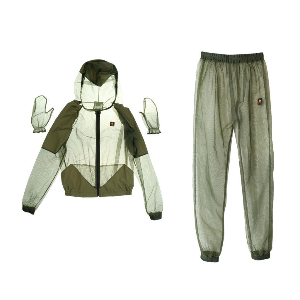 SM SunniMix Moustique Costume Veste Maille Insectes de Protection Maille Chemise Gants Pantalon pour P/êche Chasse Camping en Plein Air