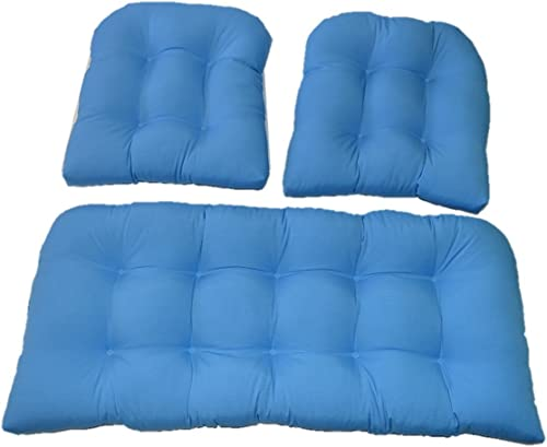 Resort Spa Home Decor 3 Piece Wicker Cushion Set – Indoor Outdoor Pool Blue Wicker Loveseat Settee 2 Matching Chair Cushions