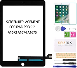 SRJTEK for iPad Pro 9.7 Touch Screen Replacement,Touchscreen (Not LCD!) Touch Digitizer,Glass Repair Parts Kit for iPad Pro 9.7 2016 A1673 A1674 A1675 Black…