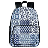 Polychromatic Optional Square Front Bag Backpack,Arabian,Arabesque Islamic Motifs with Geometric Lines Asian Ethnic Muslim Ottoman Element,Blue White,for Children,Comfortable Design.15.7''x 11.8''x 6.3''