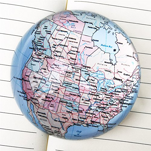 Waltz&F Crystal American Map Paperweight Galss Globe Hemisphere Home Office Table Decoration 3.2