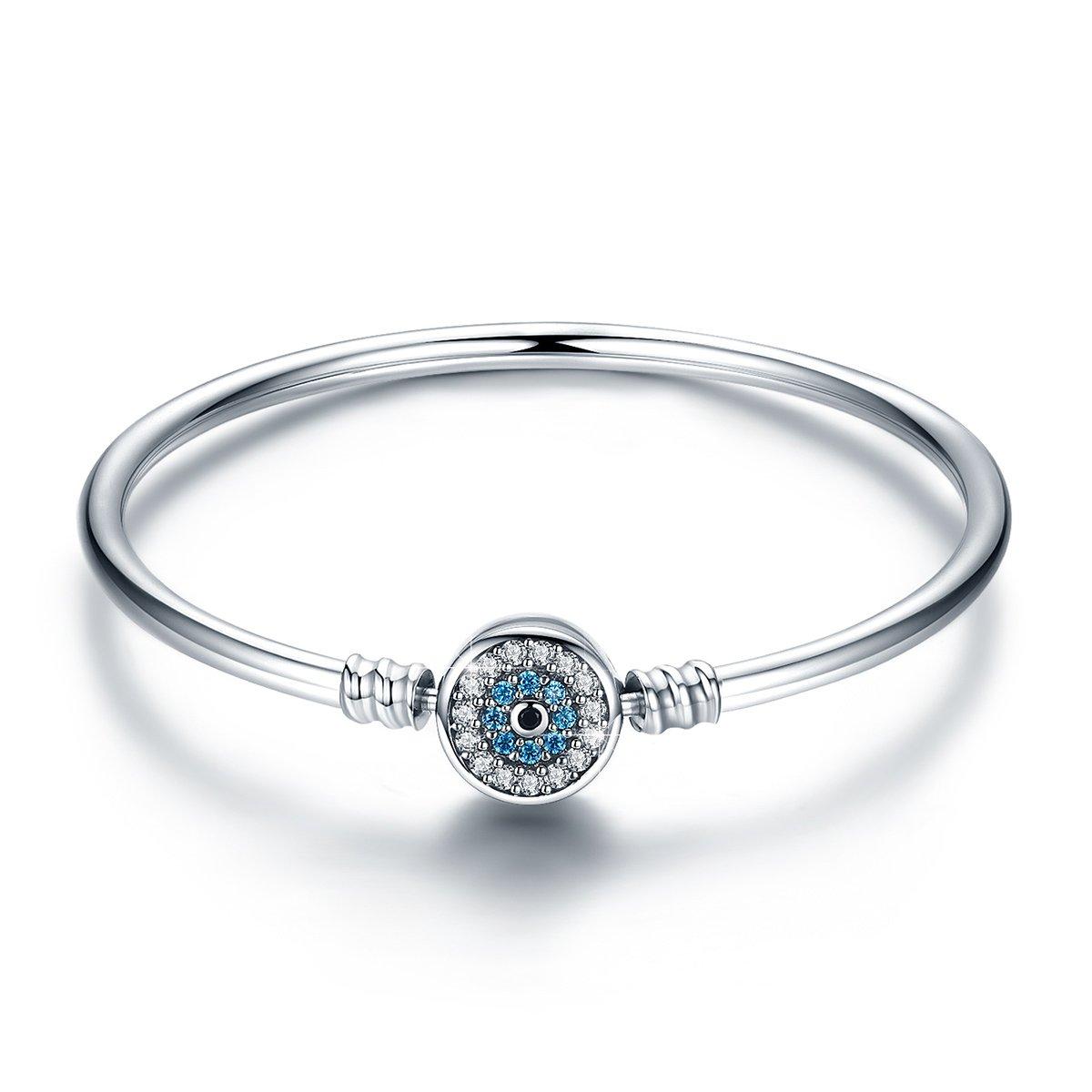 BAMOER 925 Sterling Silver Lucky Blue Evil Eye Bracelet Bangle with Sparkling Cubic Zirconia for Women Girls Evil Eye Bangle 6.7inch