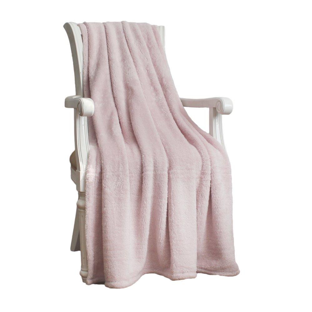 シンプル&豊かさシェルパフランネルThrow Blanket ピンク B01M9945V6 ピンク