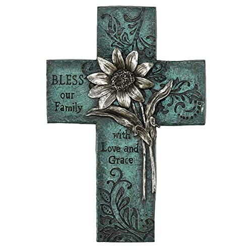 Dicksons Bless Our Family Floral Turquoise 10 Inch Decorative Wall Cross