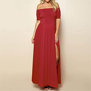 Slash Neck Long Dresses Sexy Off Shoulder Half Sleeve Split Women Maxi Dress XL-3XL