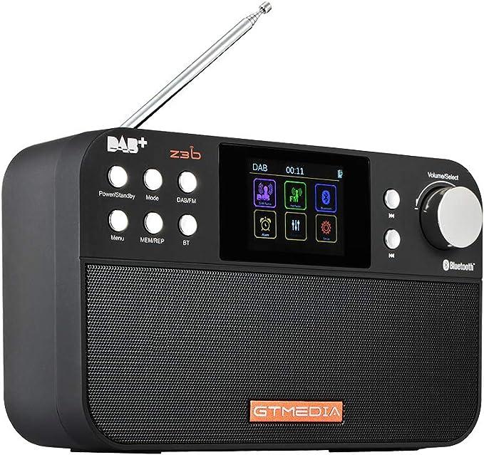 Bluetooth\TF-Karte Senderspeicher Funktion Alarmspeicher 60-Kanal-Liste 2200 mAh 18650 Lithiumbatterie GT MEDIA Tragbares Digitalradio 2,4-Zoll-TFT-LCD UKW-RDS//DAB//DAB
