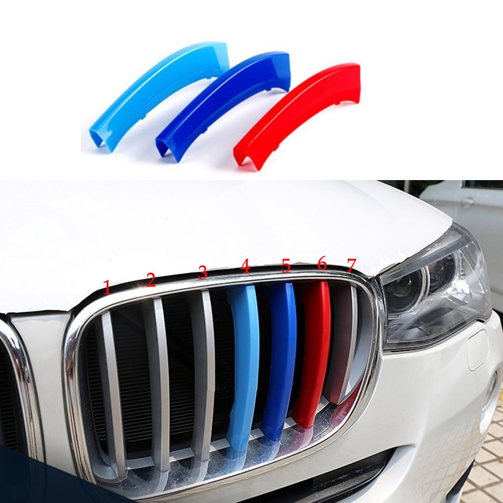 Tuqiang 3 colors 3D Front Grille Grills Trim Strips Cover performance Decoration Stickers for X3 X 4 F25 F26