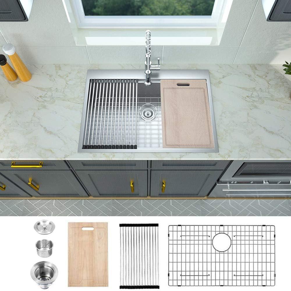 Logmey 30x22 Kitchen Sink Drop in Topmount 18 Gauge Stainless Steel Single Bowl Ledge Workstation Kitchen Sink