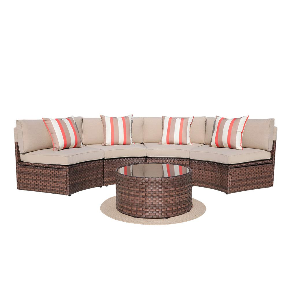 SUNSITT 5-Piece Half Moon Outdoor Sectional Sofa Brown Rattan Wicker w Beige Cushions Tempered Glass Coffee Table