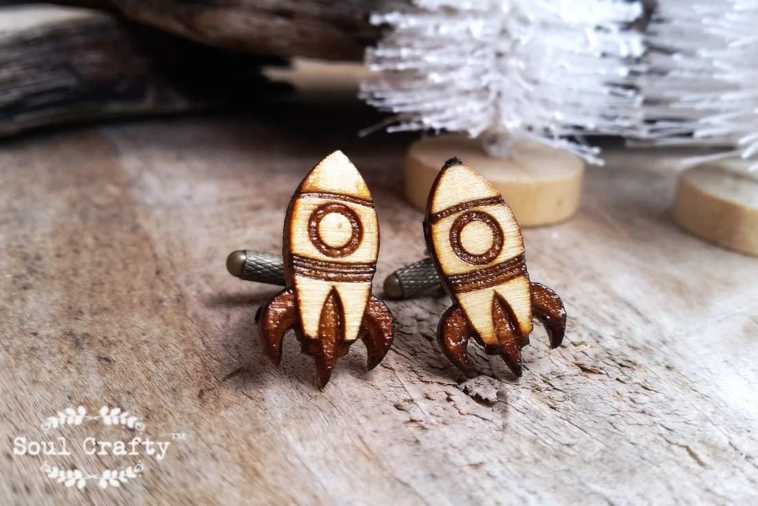 Amazon Rocket Wooden Cufflinks Space Ship Boy Friend Dad Grooms Best Man Groomsman Rustic Wedding Birthday Gift Cuff Links By Soul Crafty Handmade