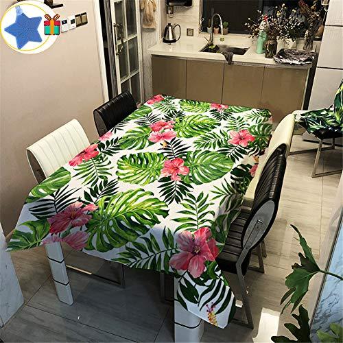 Enhome Mesa Mantel Antimanchas Rectangular Impermeable, 3D Flores Estampado Poliester Tela Lavable para Exterior Interior Comedor Cocina Jardin Decoracion (Hojas Tropicales,140×180cm)