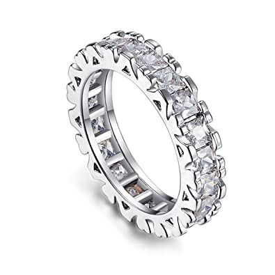 45bd63004 Psiroy 925 Sterling Silver Created White Topaz Filled Eternity Band  Stacking Ring Size 6