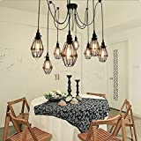 Vintage Ceiling Lamp, SUN RUN Hanging Lighting Edison Multiple Adjustable DIY Ceiling Spider Lamp Light Metal Wire Cage Pendant Lighting Chandelier Modern Chic Industrial Dining Light (6 head)