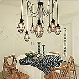 Vintage Ceiling Lamp, SUN RUN Hanging Lighting Edison Multiple Adjustable DIY Ceiling Spider Lamp Light Metal Wire Cage Pendant Lighting Chandelier Modern Chic Industrial Dining Light (6 head)