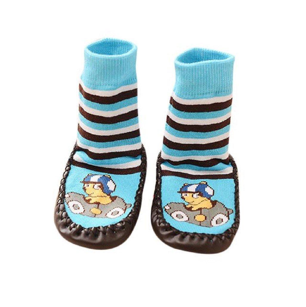 Vovotrade® Baby Boys Girls Kids Cute Cartoon Toddler Anti-slip Sock Shoes Boots Slipper Socks Age 0-6 18 24 months Blue (6-18 months) BK-12