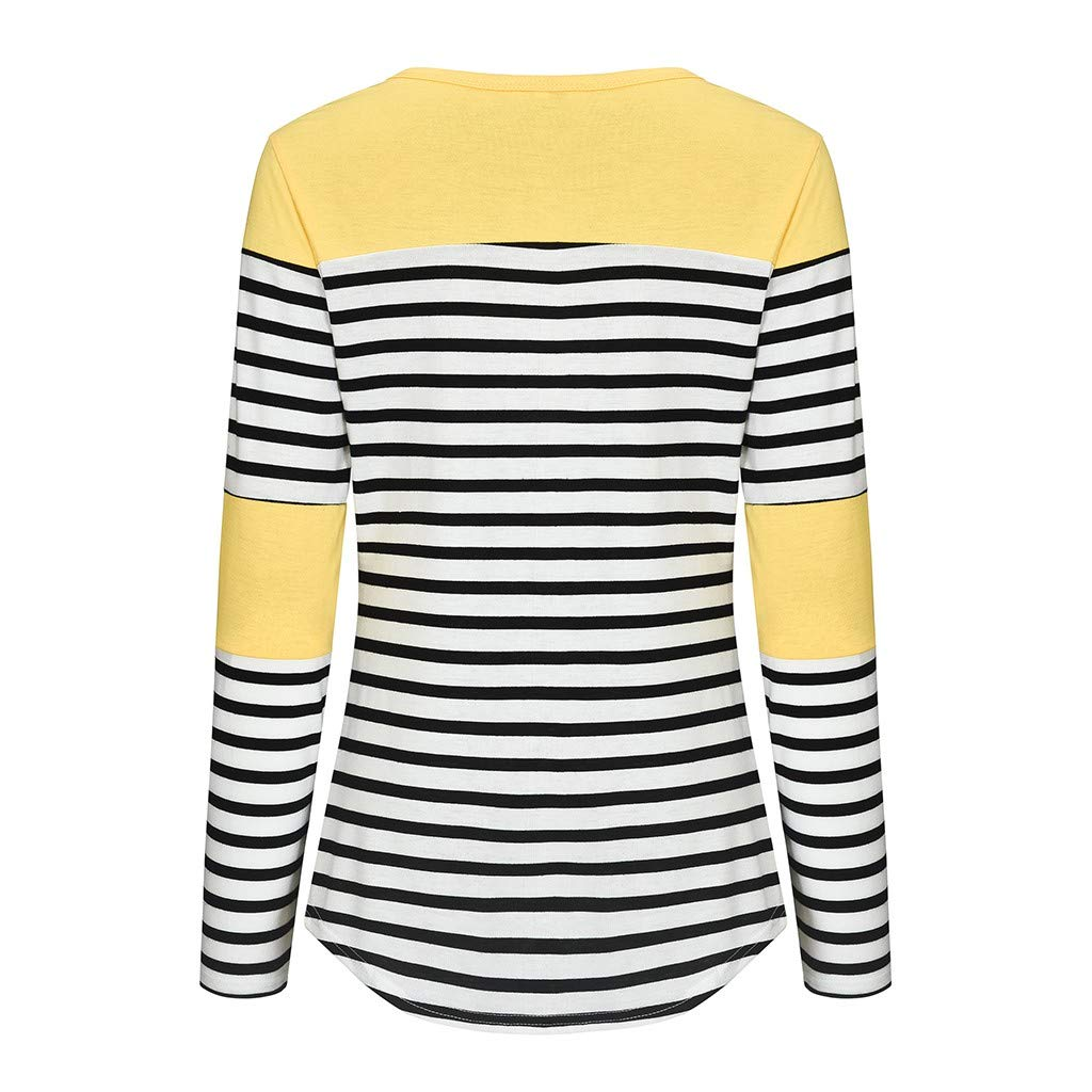Womens Maternity Long Sleeve Striped Nursing Tops T-Shirt for Breastfeeding Y56 TM