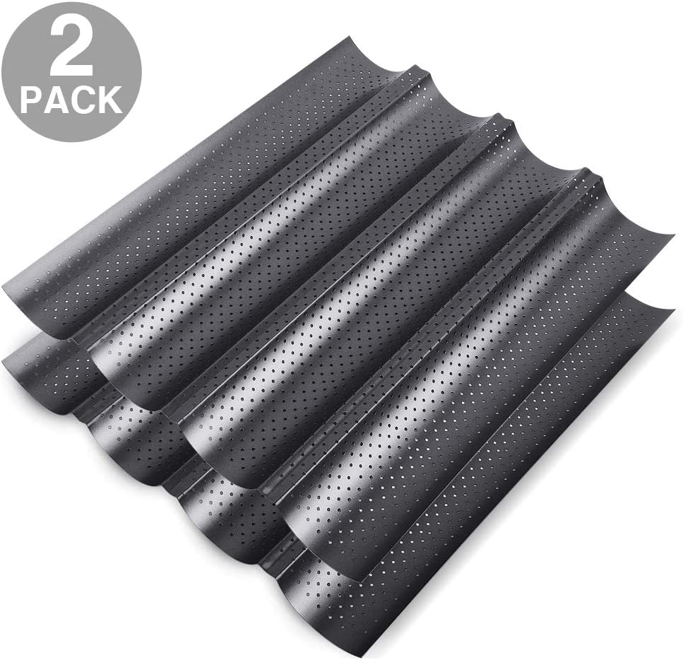 """2 Pack Nonstick Perforated Baguette Pan 15"""" x 13"""" for French Bread Baking 4 Wave Loaves Loaf Bake Mold Oven Toaster Pan (Grey)"""