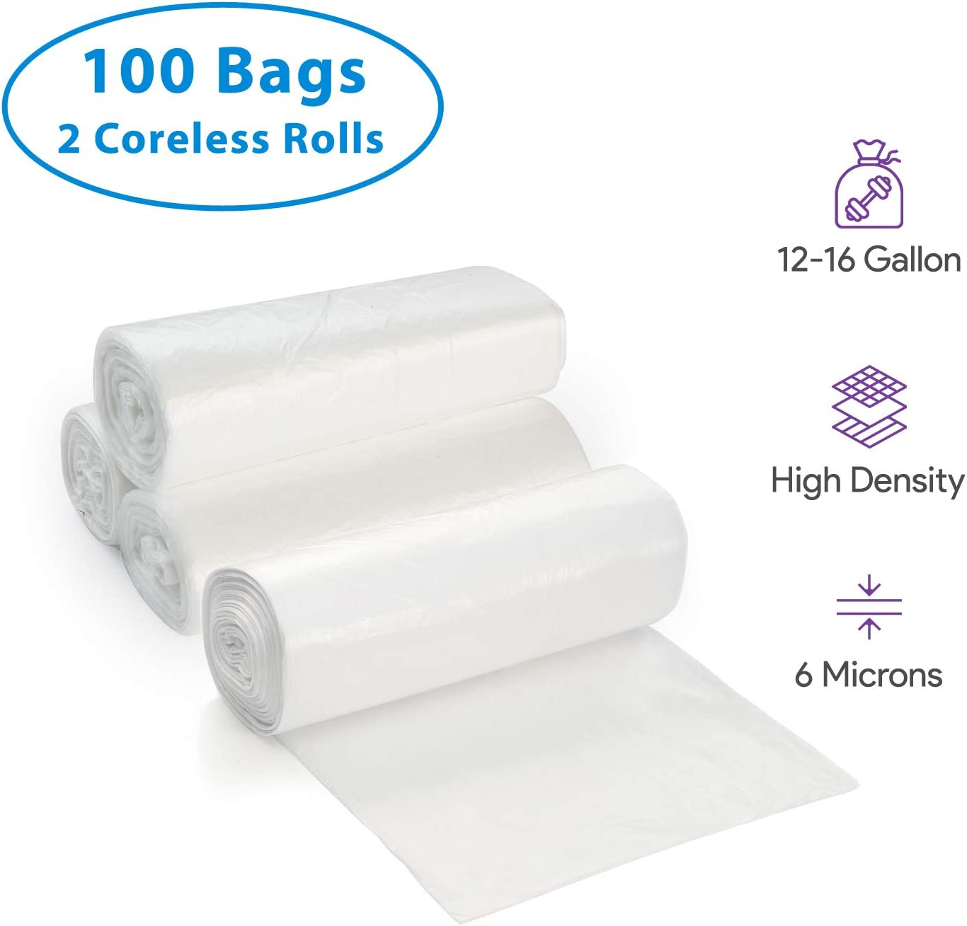 12-16 Gallon Clear Garbage Can Liners, 100 Count - Medium - Large Trash Can Liners - High Density, Thin, Lightweight, 6 Microns - For Office, Home, Hospital, Wastebaskets - 2 Coreless Rolls