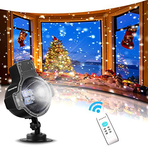 Zeonetak Snowfall LED Lights Christmas Projector Light Rotatable Snowflake with Wireless Remote Control Holiday and Party Indoor Outdoor - Yd Matte
