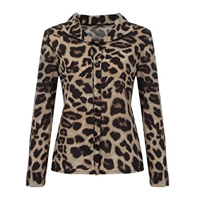 2696c51b5e6b0 Limsea Women Blouse Tops Fahsion Leopard Print Map Off Shoulder Christmas  Winter (Small