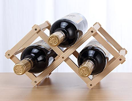 Foldable Wine Rack Storage Stand Solid Wood Display Shelves 3-Bottle Countertop Wine Holder & Amazon.com: Foldable Wine Rack Storage Stand Solid Wood Display ...