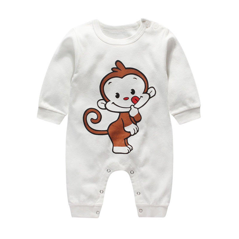 Recién nacido Bebés chicas Chicos del verano de manga corta de algodón mameluco Equipo infantil de dibujos animados Sleepsuit, 0-3 meses