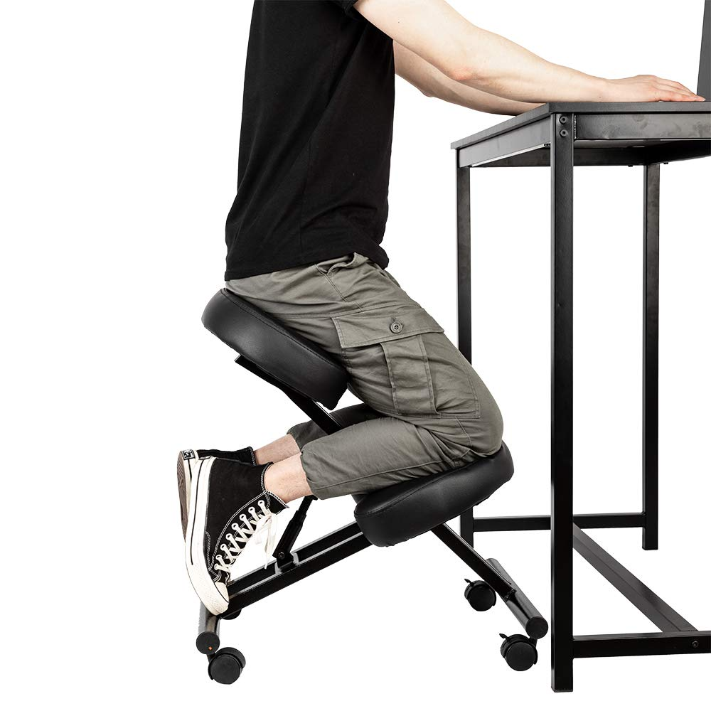ilovo MF-MC184 Ergonomic Kneeling Chair Adjustable Height Ideal for Neck Spine Back Problems Black by ilovo