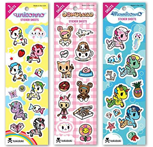 Re-marks Tokidoki Sticker Sheet (3 pack) - 3 Sheets Each Donutella, Mermicorno, Unicorno (9 Sheets Total)