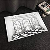 Antique Decor Interesting Doormat Sketch of A Classic Parlor Ballroom Hall Castle Baroque Theatre Curtains llustration Anti-Fading W35 xL47