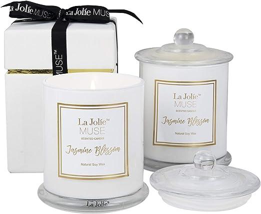 La Jolíe Muse Velas perfumadas Jasmine Pack 2 en cristal, velas aromáticas Pack 2 Plumeria y Jazmín, 20 onzas, cera de soja natural.: Amazon.es: Iluminación