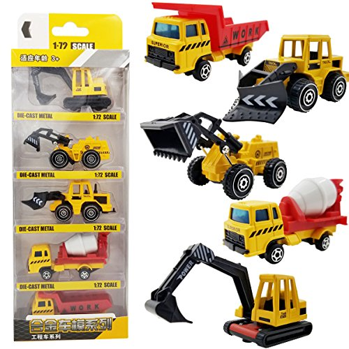 M-jump 5 PCS Mini 1:72 Scale DIE-CAST Metal Construction Engineering Vehicle Toys Set for kids - Excavating trucks, Bulldozers, Truckshovel, Clay truck, Dump trucks