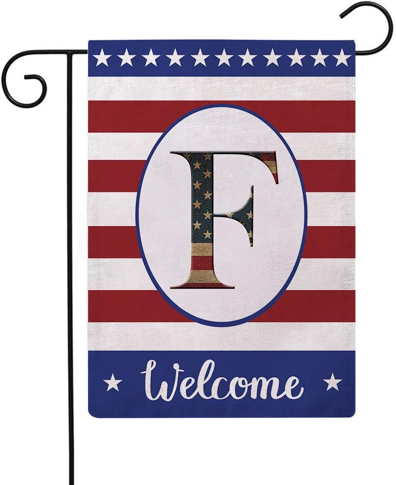 Patriotic Decorative Flag Initial Letter Garden Flags with Monogram F Double Sided American Independence Day Flag Welcome Burlap Garden Flags 12.5×18 Inch for House Yard Patio Outdoor Decor(F)