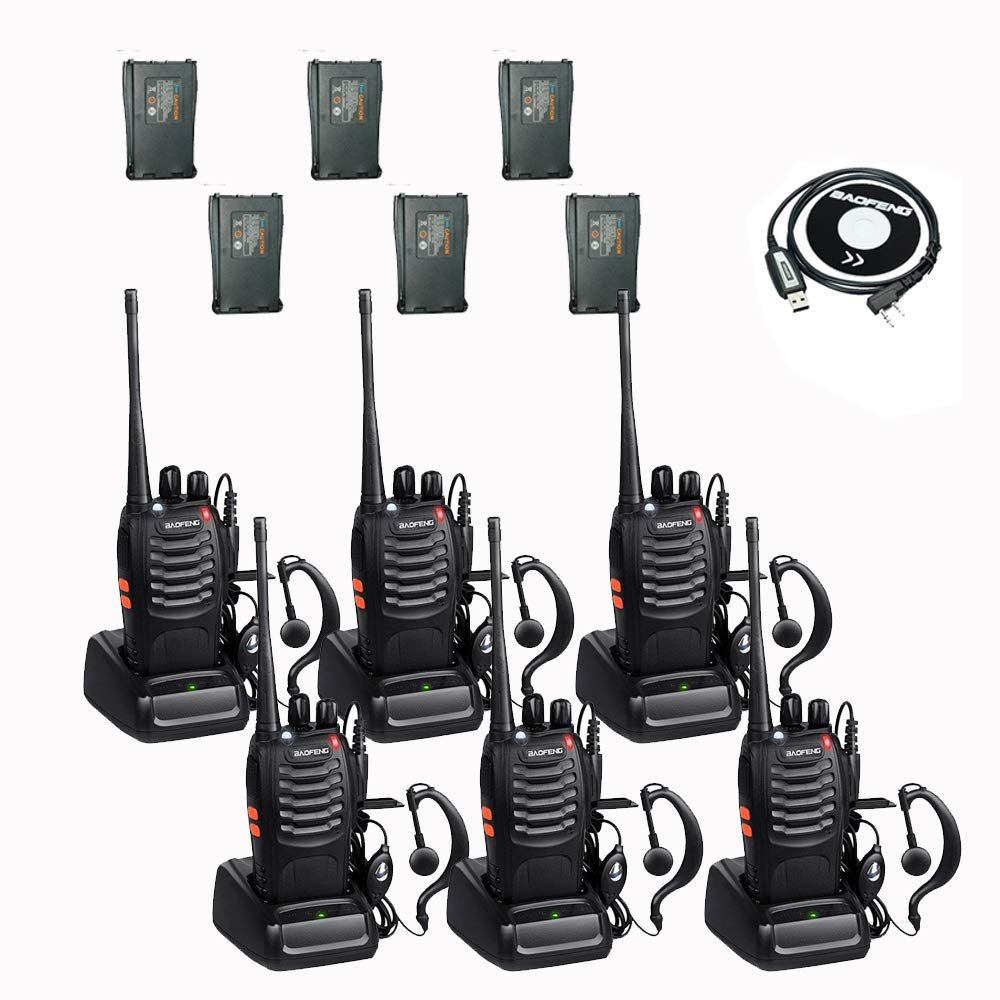 BaoFeng BF-888s 2 Way Radio Walkie Talkies with 12 1500mah Li-ion Batteries Long Range Rechargeable Two Way Radio (6 Pack)