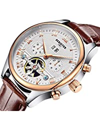 Automatic Mechanical Skeleton Imitate Tourbillon Watch Men Rose Gold Mechanical Wrist Watches