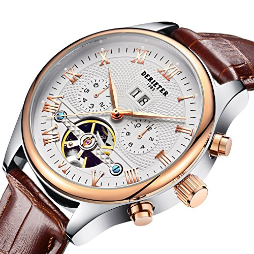 Derieter Automatic Mechanical Skeleton Imitate Tourbillon Watch Men Rose Gold Mechanical Wrist Watches