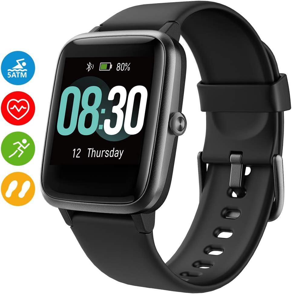 UMIDIGI Reloj Inteligente Uwatch3 Smartwatch 5ATM Impermeable con Cronómetro Pulsera Actividad Inteligente Reloj de Fitness con Podómetro Smartwatch Mujer Hombre niños para iOS y Android [Negro]