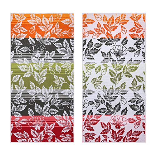 Plush Thick Oversized Beach Towel - Hawaii Flower Combed Cotton 32 x 66 Inch Large Pool Towel, Jacquard Colorful Cabana Swimming Towel (1 Pack)