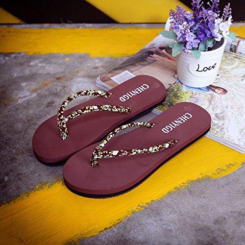 estate donne da ladies flop flip portano piatto nuovi pantofole selvaggi scarpe spiaggia 2018 con floreale moda 39 nero le estate XIAMUO gW5qvv