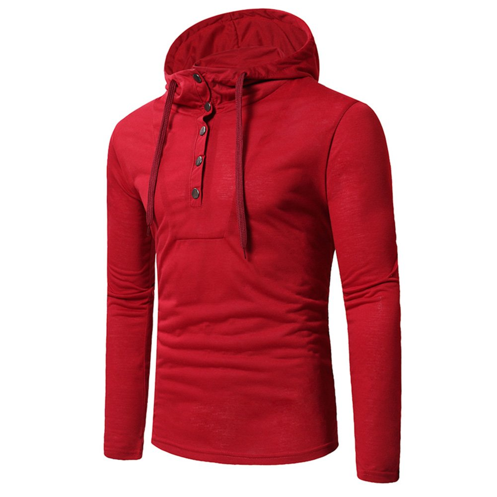 Yiwa Mens Casual Hooded Slim Long-Sleeved T-Shirt Men Casual Long Sleeve with Unique Style Button Solid Color Tops Blouse