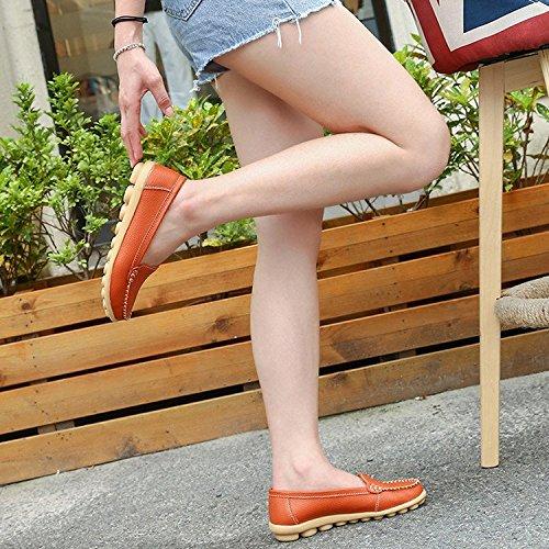 De Mocassins Orange Loisir Gesimei Chaussures Femmes Cuir Bateau Loafers Plates Conduite Confort YPvnqYx