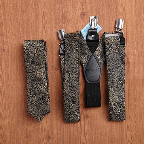 EFDB0039 Blue Grey Black Paisley Skinny Tie Microfiber By Epoint