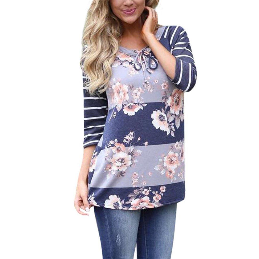 Damen Bluse, Btruely Blumen Shirts Lange Hülse Pullover Tops (S, Weiß) Weiß)