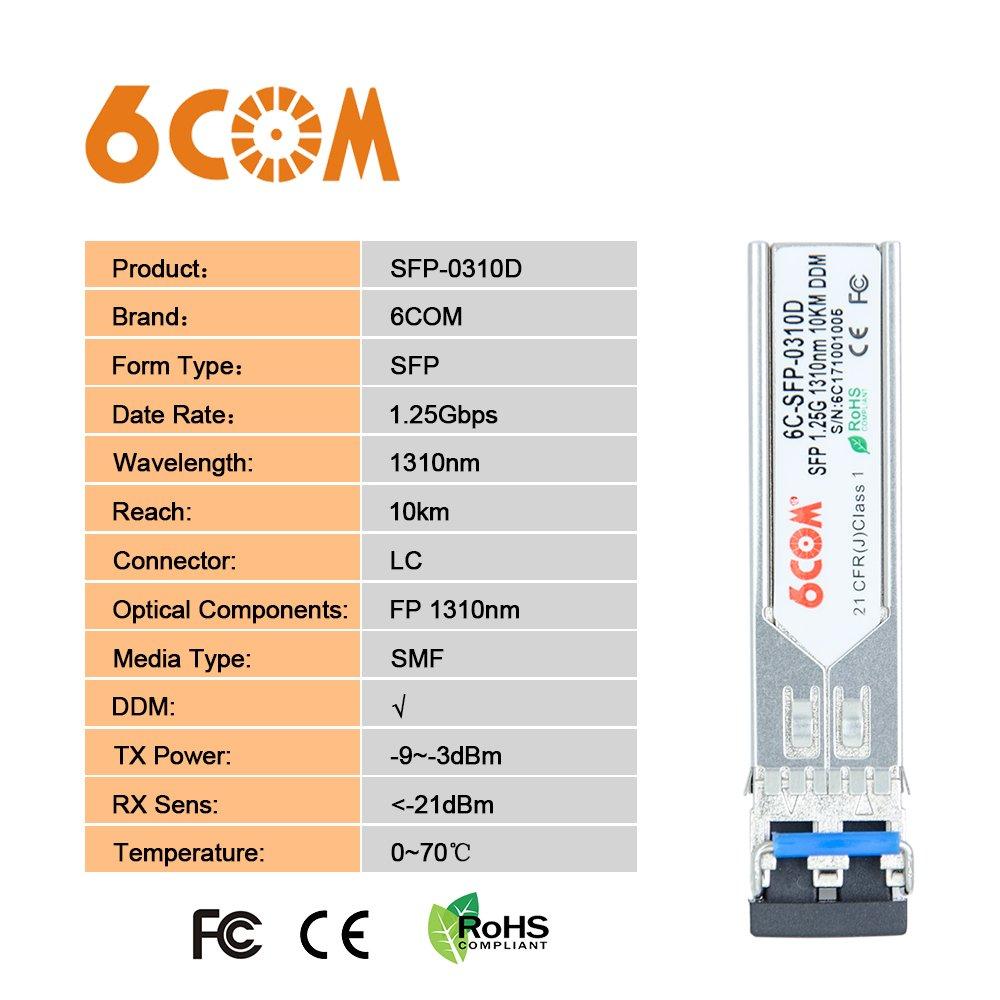 LC Connector 1310nm 6COM 1.25Gb SFP Module for HP J4859A//A5416AJ4859C//J4859B 1000BASE-LX Gigabit SFP Singlemode Ttransceiver 10km
